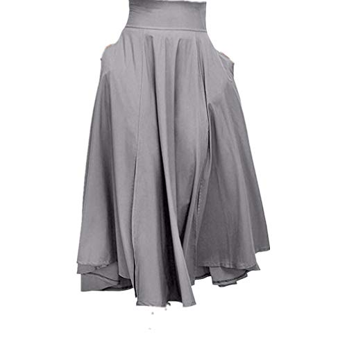 VEZAD High Waist Pleated A Line Long Skirt Women Front Slit Belted Maxi Skirt Gray