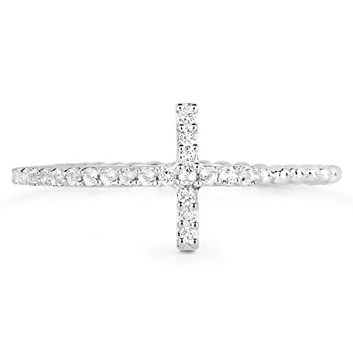 - LoveHuang 0.18 Carats Genuine White Topaz Cross Ring Solid .925 Sterling Silver With Rhodium Plating