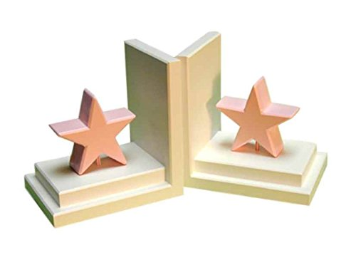 Pastel Star Bookends in White Base (Pink)