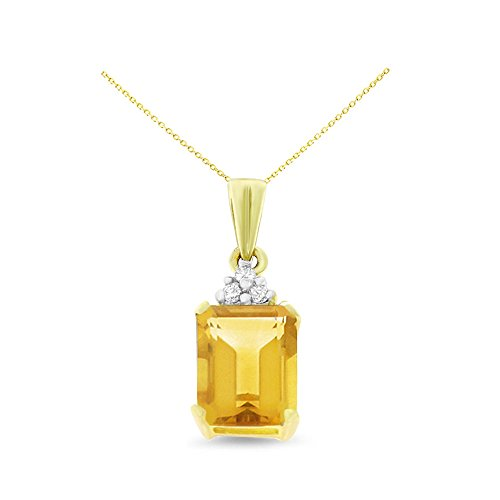14K Yellow Gold 6 x 8 mm. Emerald Cut Citrine and Diamond Pendant With Square Rolo Chain - Cut Emerald Citrine Pendant