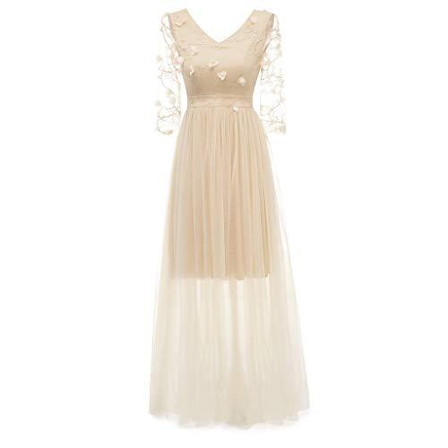 XOWRTE Women's Vintage Floral Lace V-Neck Aline Dress Cocktail Party Princess Swing Dress ()