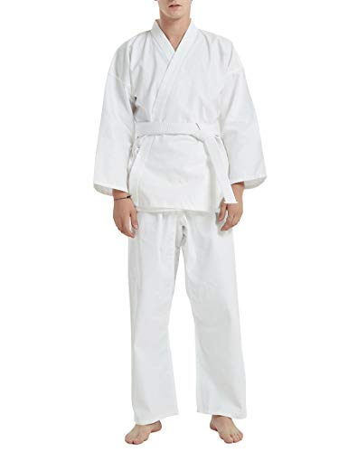 TOPTIE 7.5 oz. Elastic Drawstring Middleweight Student Uniform Martial Arts Karate-White Suit-Size 3