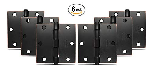 Emtek Hardware Steel Hinges, Residential Plain Bearing, Pack of 6, Square Corners, Size: 3.5 x 3.5 in. Color: Oil Rubbed Bronze, Thickness: 2.2MM, Model: 91013US10B
