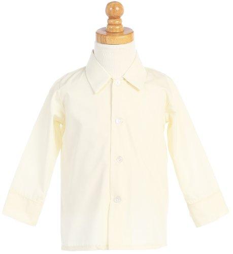 Boys Infant Toddler Child Ivory Long Sleeved Simple Dress Shirt - 3T