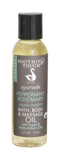 Soothing Touch Bath Organic Body & Massage Oil, Peppermint Rosemary, 4 Ounce ()