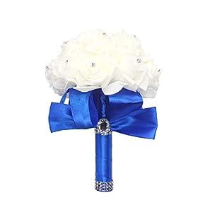 Grace Florist Wedding Bouquet Crystal Pearl Silk Rose Bridesmaid Bouquet, Faux Bridal Bouquet, Artificial Flowers for Wedding, Party (RoyalBlue) 101