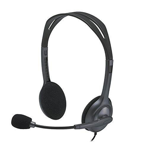 Renewed  Logitech H111 Stero Headset, Black   Grey