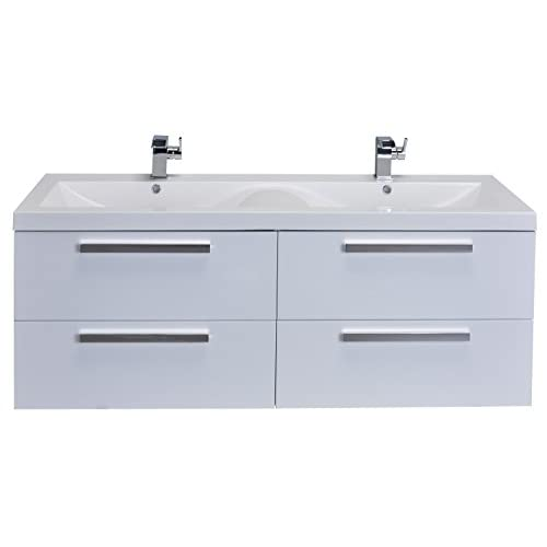 """hot sale Eviva EVVN144-57WH Surf 57"""" Modern Bathroom Vanity Set with Integrated Acrylic Double Sink, White"""