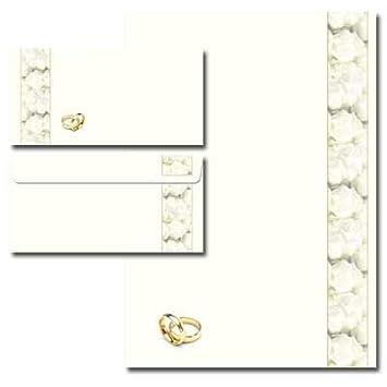 DL ohne Fenster Motiv-Briefpapier-Set UNSERE HOCHZEIT 20-tlg Set