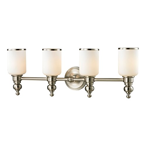 Alumbrada Collection Bristol Way 4 Light Vanity In Brushed Nickel And Opal White Glass