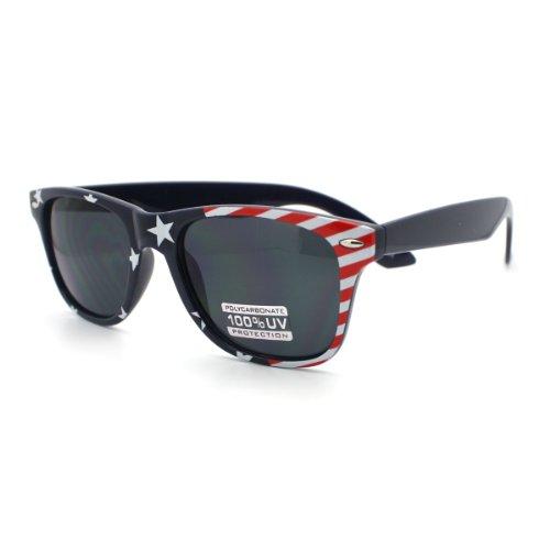 Navy USA American Flag Print Horn Rim horned Sunglasses Navy - Navy Us Sunglasses