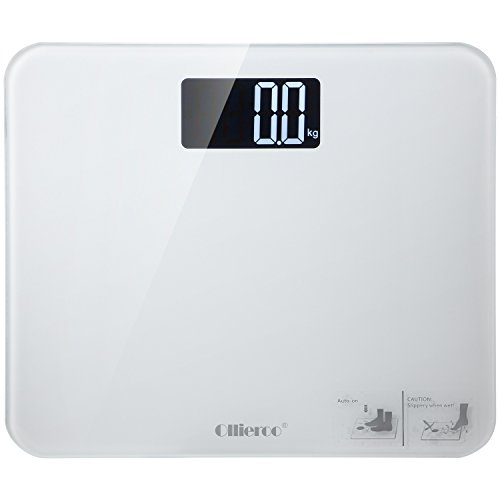 Enclosed Basic Switch (Ollieroo Bathroom Scale Large Readout 400lb Precision Digital Body Weight Scale with Tempered Glass Silica Non Slip Grip Smart Step-on)