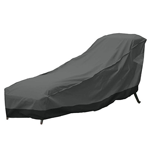 North East Harbor Outdoor Patio Chaise Lounge Chair Cover 66'' Length Dark Grey with Black Hem - 100% Waterproof Winter Storage Cover Deck Patio Backyard Veranda Porch Chair Covers by North East Harbor