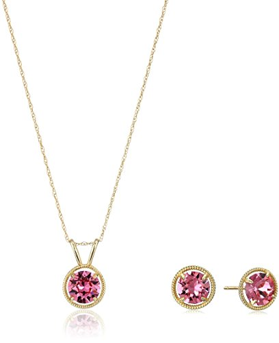 10K Gold Dainty Swarovski Crystal Birthstone Pendant Necklace with Stud Earrings Set, October
