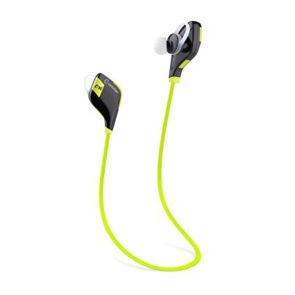 Cellaller Bluetooth Wireless Noise Cancelling Sweat Proof Sports Headphones with Microphone - Green ()