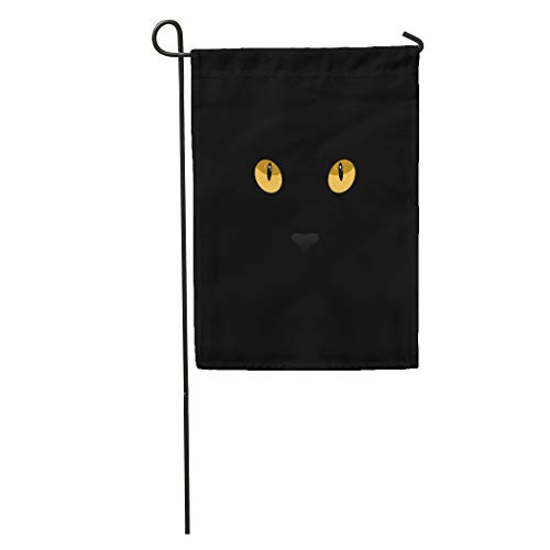 Semtomn Garden Flag Orange Halloween Cat Eyes on Yellow Black Abstract Anger Animal Home Yard Decor Barnner Outdoor Stand 28x40 Inches Flag