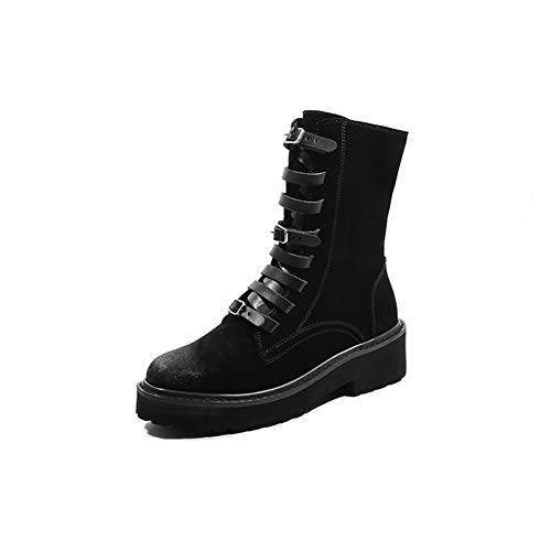 T-JULY Women's Fashion Concise Round Toe Shoes Med Square Heel Platform Black and Brown Zipper Winter Ankle high Boots