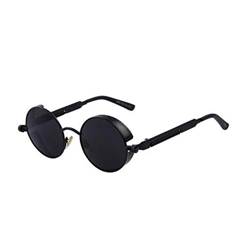 Black Round Steampunk Sunglasses Men Fashion Brand Designer C1 Black Black Lens (Designer Sonnenbrillen Frauen)