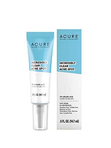 ACURE Incredibly Clear Acne Spot 100% Vegan | For Oily to Normal & Acne Prone Skin | 2% Salicylic Acid - Minimizes blemishes, Lightens & Brightens Appearance | 0.5 Oz