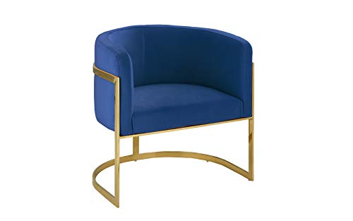 Modern Round Brush Microfiber Living Room Armchair with Gold Legs, Accent Chair (Navy)