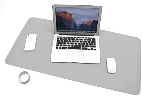 Novaza Tech Tischunterlage, Schreibtischunterlage, 90cm x 45cm PU-Leder Tischunterlage, Laptop Tischunterlage, wasserdichte Schreibunterlage für Büro- oder Heimbereich, doppelseitig GRAU