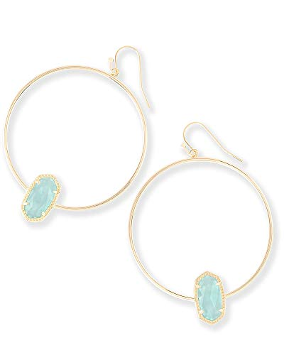 - Kendra Scott Elora Hoop Earrings in Chalcedony Glass & Gold Plated