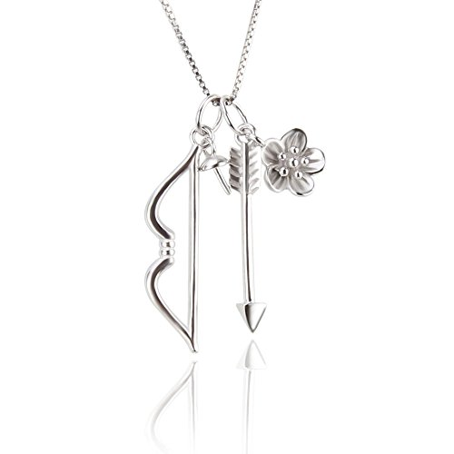 NY Jewelry Sterling Silver Piece Bow and Arrow Pendants for Pearl Necklace DIY, Pearl Pendant Accessories/Fitting/Mounts with Pearl Bead Bail Pin for Women Jewelry Making