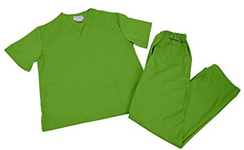 M&M SCRUBS Men Scrub Set Medical Scrub Top and Pants (XXL, Lime Green)