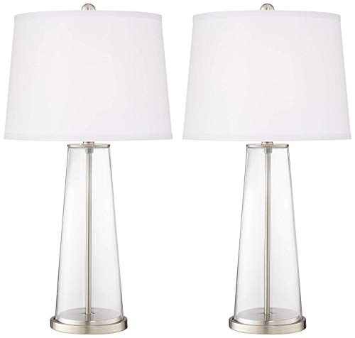 Leo Modern Table Lamps Set of 2 Fillable Clear Glass Tapered Column Plain White Drum Shade for Living Room Family Bedroom - Color + Plus (Lamps To Fill With Shells)