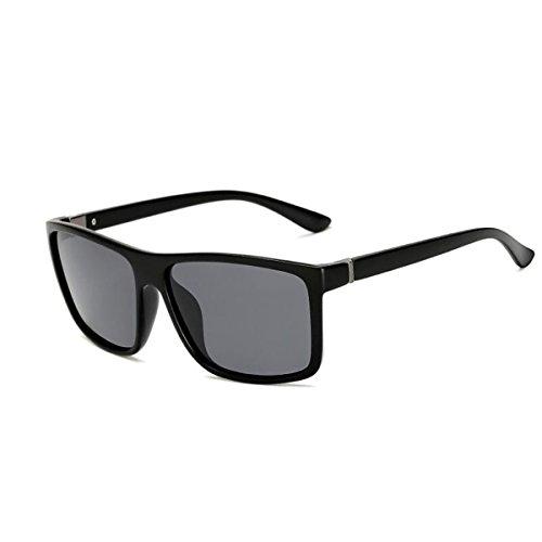 lunettes Tukistore hommes pour miroir les lentille femmes Sable plat Noir vintage bordé polarisée carrée réfléchissant de de couleur Gris corne soleil grande rZqn7Urpw