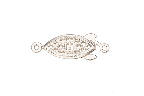 Filigree Clasp (Filigree Fish Tab Clasp Silver Plated With Tab And Safety 28X7mm sold per)