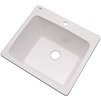 """Dekor Sinks 42100NSC Westworth Composite Utility Sink with One Hole, 25"""", White Natural Stone"""
