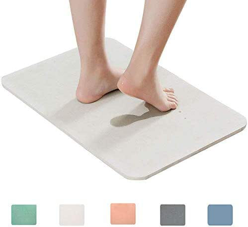 Marbrasse Bath Mat, Absorbent Diatomaceous Earth, Japanese Design, Nonslip Bathroom Floor Mats for Fast Water Drying, Self-Refreshing Hard Shower Mat (White)