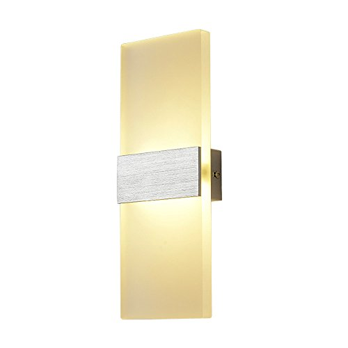 Lysed LED Acrylic Wall Lamp,6W Warm White,480 lumens Wall Light Night Light Wall Sconce Fixture Plug in or Hardwired for Kids Room, Living Room, Kitchen, Dining Room, Bedroom(White Style)
