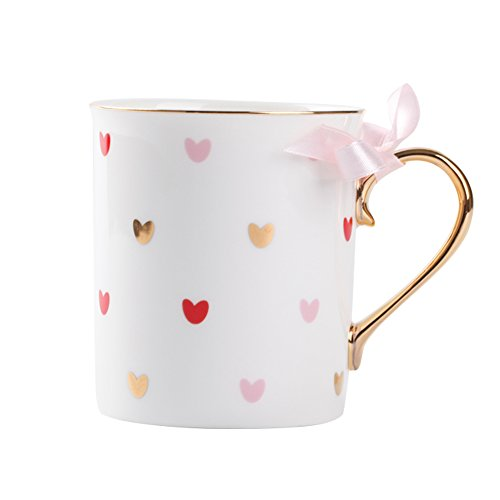 - Gold Handle Mug Love is LovePink Coffee Mug Hearts Decoration Ceramic Tea Milk Cup 300ml with Gift Box for Birthday Wedding Anniversary Mother'sDay Gifts(Pink)