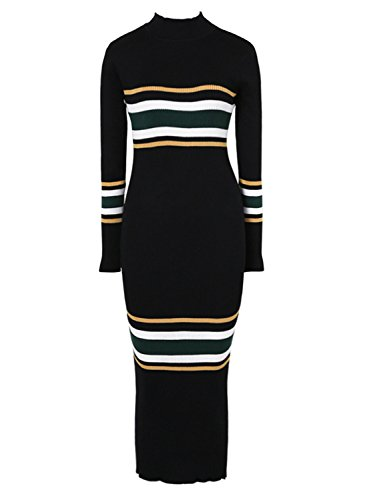 Futurino Women's Mock Neck Long Sleeve Striped Knit Sweater Midi Bodycon Dress