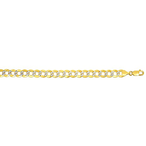 """RCI 14kt Gold 24"""" Yellow + White Finish 8.3 mm Comfort Pave Curb Chain Necklace with Lobster Clasp 36.5 grams"""