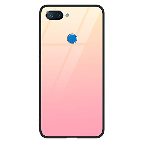 Eouine Xiaomi Mi 8 Lite Case, [Anti-Scratch] Shockproof Patterned Tempered Glass Back Cover Case with Soft Silicone Bumper for Xiaomi Mi 8 Lite Smartphone (Rosegold)