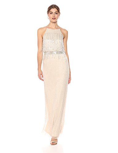 Adrianna Papell Women's Long Beaded Dress, pale nude, 14