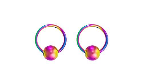 Forbidden Body Jewelry 16g 6mm Rainbow Surgical Steel Captive Bead Body Piercing Hoops (2pcs) ()