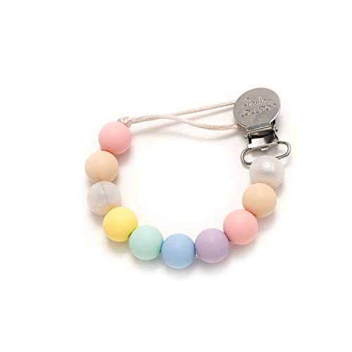 Candy Cotton Lead - Loulou LOLLIPOP - Lolli - Best Silicone Pacifier Clip and Holder - Cotton Candy