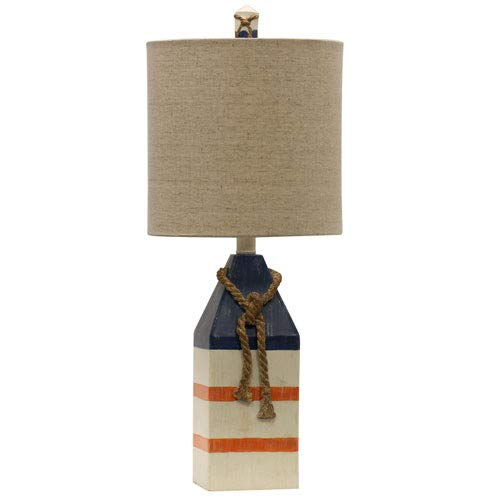 StyleCraft Home Collection L27008DS Signature Table Lamp Blue and Orange Stripe Blue Stripe Table Lamp