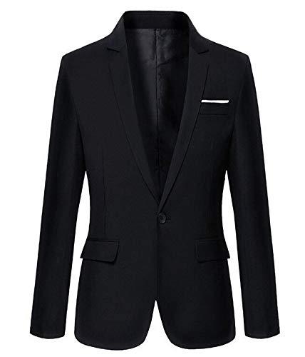Mens Slim Fit Casual One Button Blazer Jacket (M, 302Black)