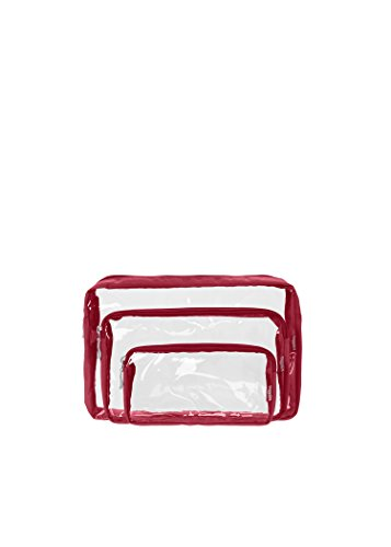 Baggallini Clear Cosmetic Trio Bags, Apple, One Size