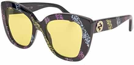 d479e937f GUCCI 0327 Black Rainbow Glitter Stripe Cat Eye Yellow Sunglasses GG0327S