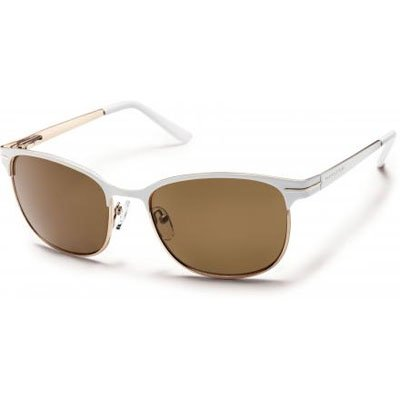 Suncloud Causeway Polarized Sunglasses, White Frame, Brown Polycarbonate Lenses