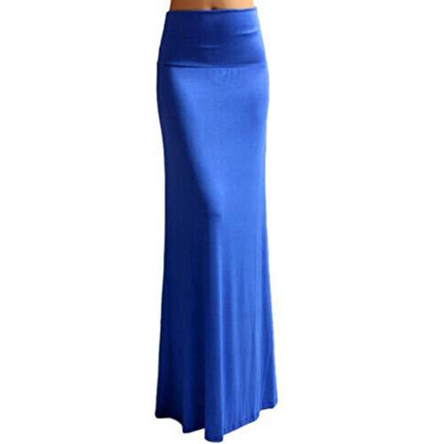 (Sherostore ♡ Womens Vintage Fishtail Long Skirt Mermaid Pleated Bodycon Skirt High Waist Pencil Skirts Blue)