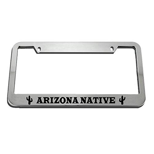 (Speedy Pros Arizona Native Zinc Metal License Plate Frame Car Auto Tag Holder - Chrome 2 Holes)