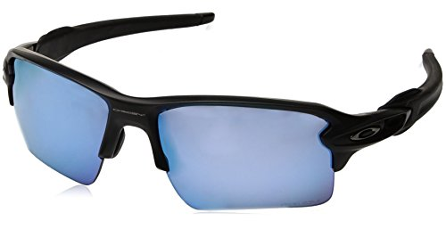 Oakley Men's Flak 2.0 Xl Non-Polarized Iridium Rectangular Sunglasses, Matte Black w/Prizm Deep Water Polarized, 59 - Polarized Black Prizm