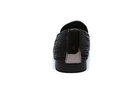 Männer Leder Schuhe Knöchel Mode Atmungsaktiv Schwarz Bühne Nachtclub Groß Größe 37-46 black grey
